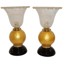 Italian Art Deco Style Gold Black Lamps with Barovier Crystal Murano Glass Shade