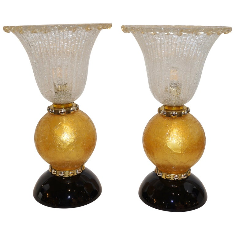 Italian Art Deco Style Gold Black Lamps with Barovier Crystal Murano Glass Shade For Sale