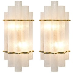 Italian Art Deco Style Pair of Murano Glass and Brass Sconces