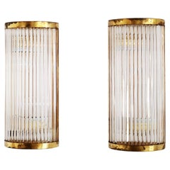 Italian Art Deco Style Wall Sconces with Glass Rods and Brass, Set of Two