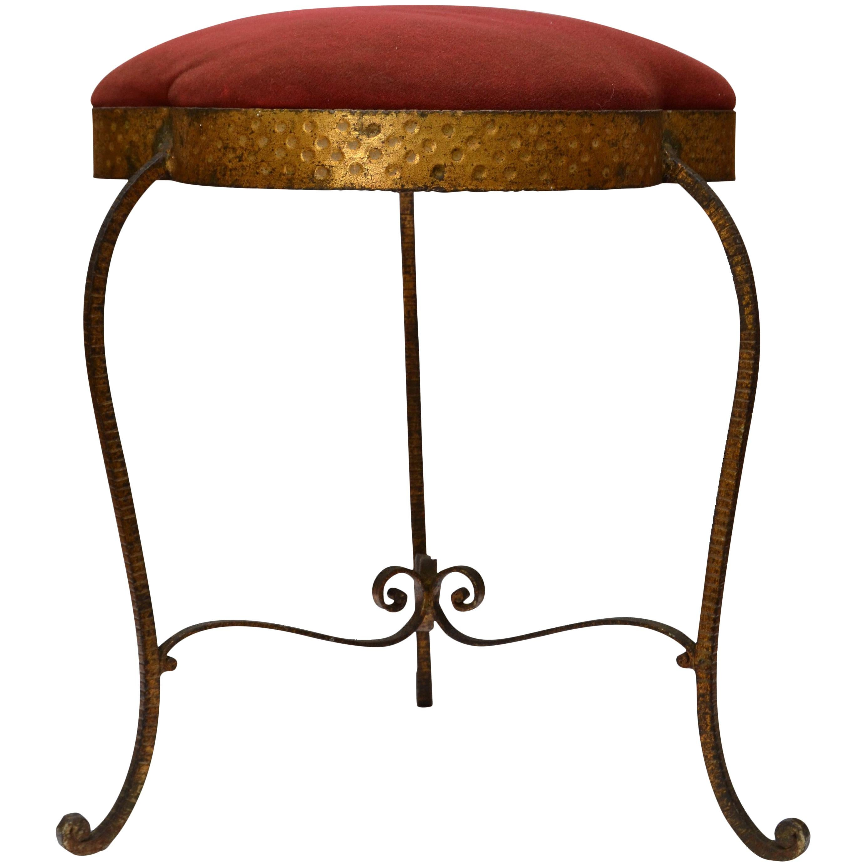 Italian Art Deco Style Wrought Iron Gilt Finished Tabouret by Pier Luigi Colli