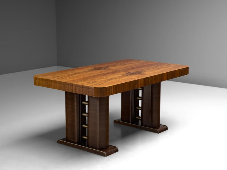 Dining table, walnut, Italy, 1930s. 