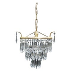Italian Art Deco Three-Tier Crystal Glass Chandelier
