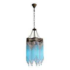 Italian Art Deco Turquoise Glass Rod Three-Light Chandelier Brass Mounted