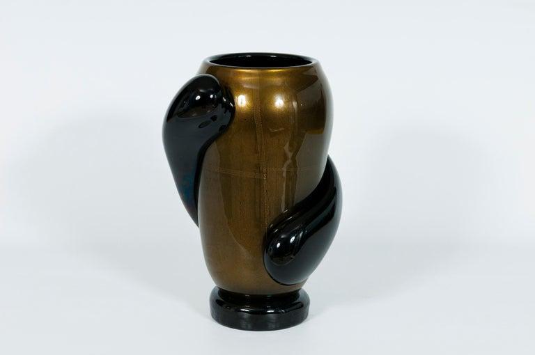 Italian Art Deco Vase Black and Gold 24 Karat in Blown Murano Glass, 1980s For Sale 5