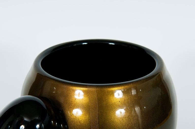 Italian Art Deco Vase Black and Gold 24 Karat in Blown Murano Glass, 1980s For Sale 6