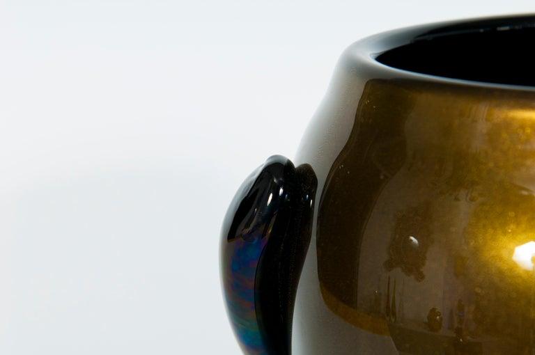 Italian Art Deco Vase Black and Gold 24 Karat in Blown Murano Glass, 1980s For Sale 3