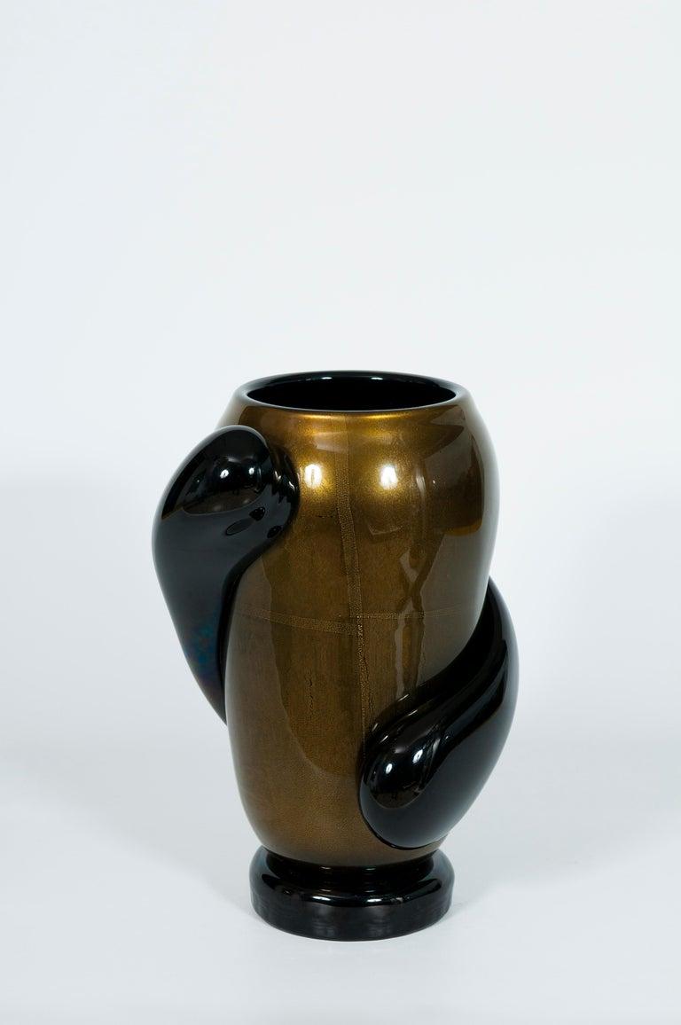 Italian Art Deco Vase Black and Gold 24 Karat in Blown Murano Glass, 1980s For Sale 4
