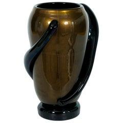 Italian Art Deco Vase Black and Gold 24 Karat in Blown Murano Glass, 1980s