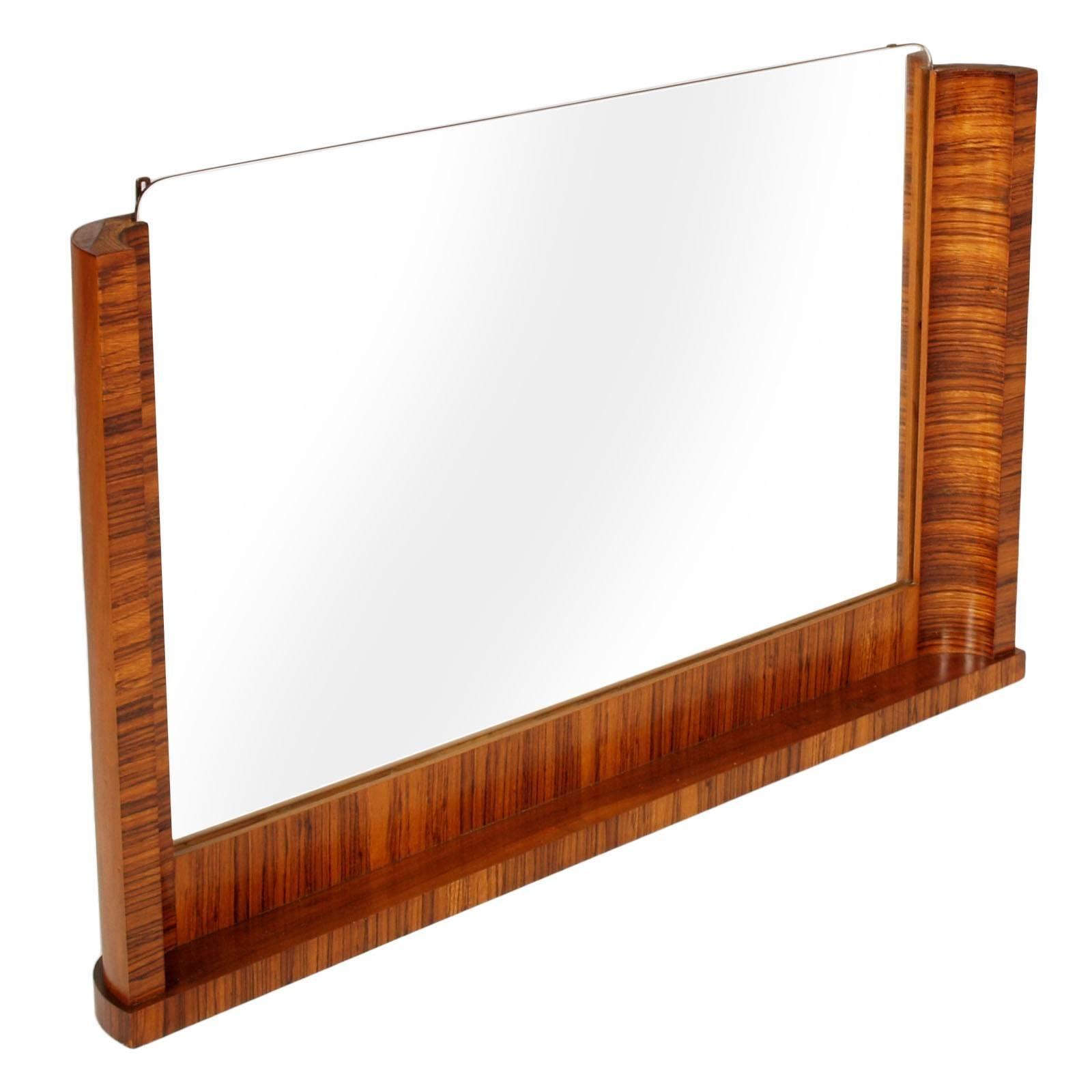 Italian Art Decò Wall Mirror Osvaldo Borsani Attributed in Macassar Ebony