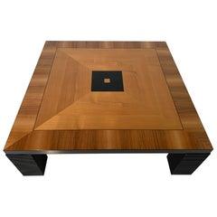 Italian Art Deco Walnut and Black lacquer Coffee Table