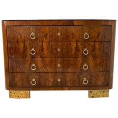 Italian Art Deco Walnut and Gold Leaf Chest of Drawers, 1930s