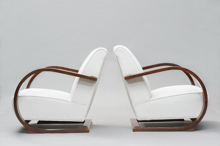 Varnished Italian Art Deco Walnut Armchairs One Pair For Sale