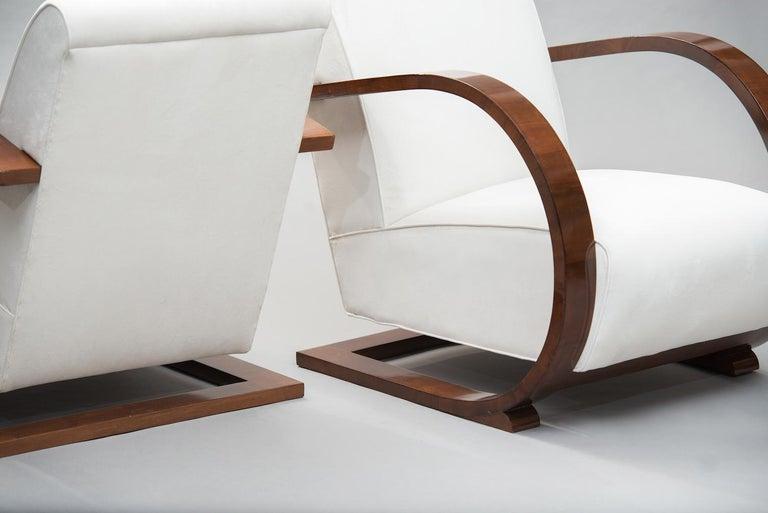 Mid-20th Century Italian Art Deco Walnut Armchairs One Pair For Sale