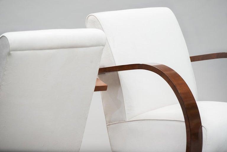 Fabric Italian Art Deco Walnut Armchairs One Pair For Sale
