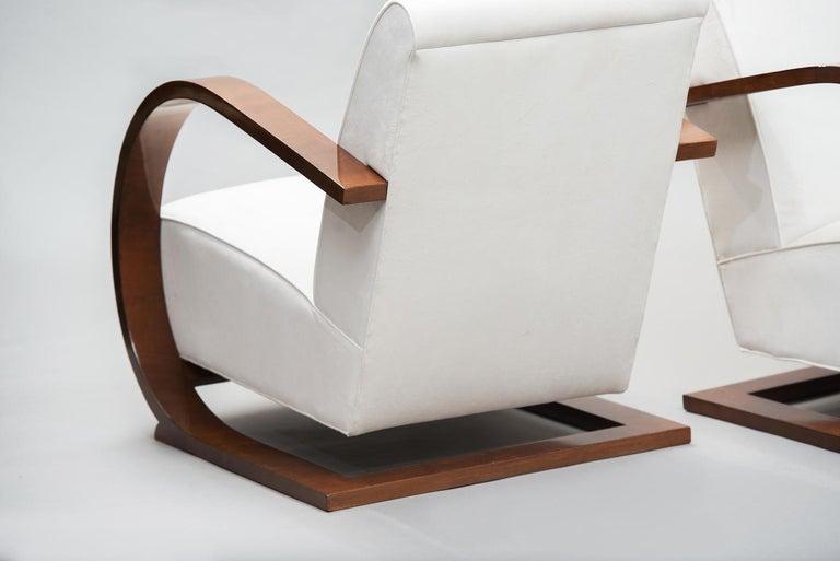 Italian Art Deco Walnut Armchairs One Pair For Sale 1