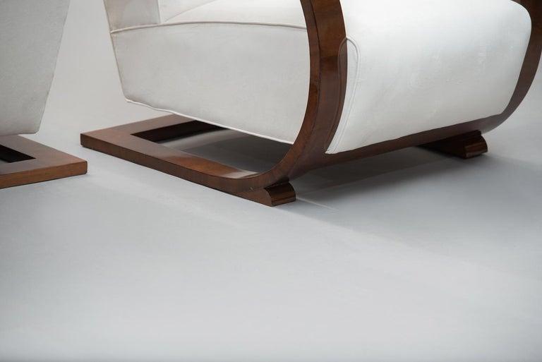 Italian Art Deco Walnut Armchairs One Pair For Sale 2