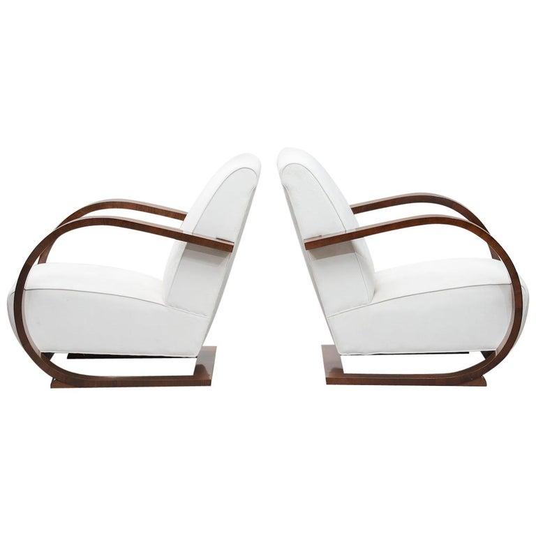 Italian Art Deco Walnut Armchairs One Pair For Sale