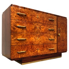 Italian Art Deco Walnut Chest of Drawers or Commode, 1940s