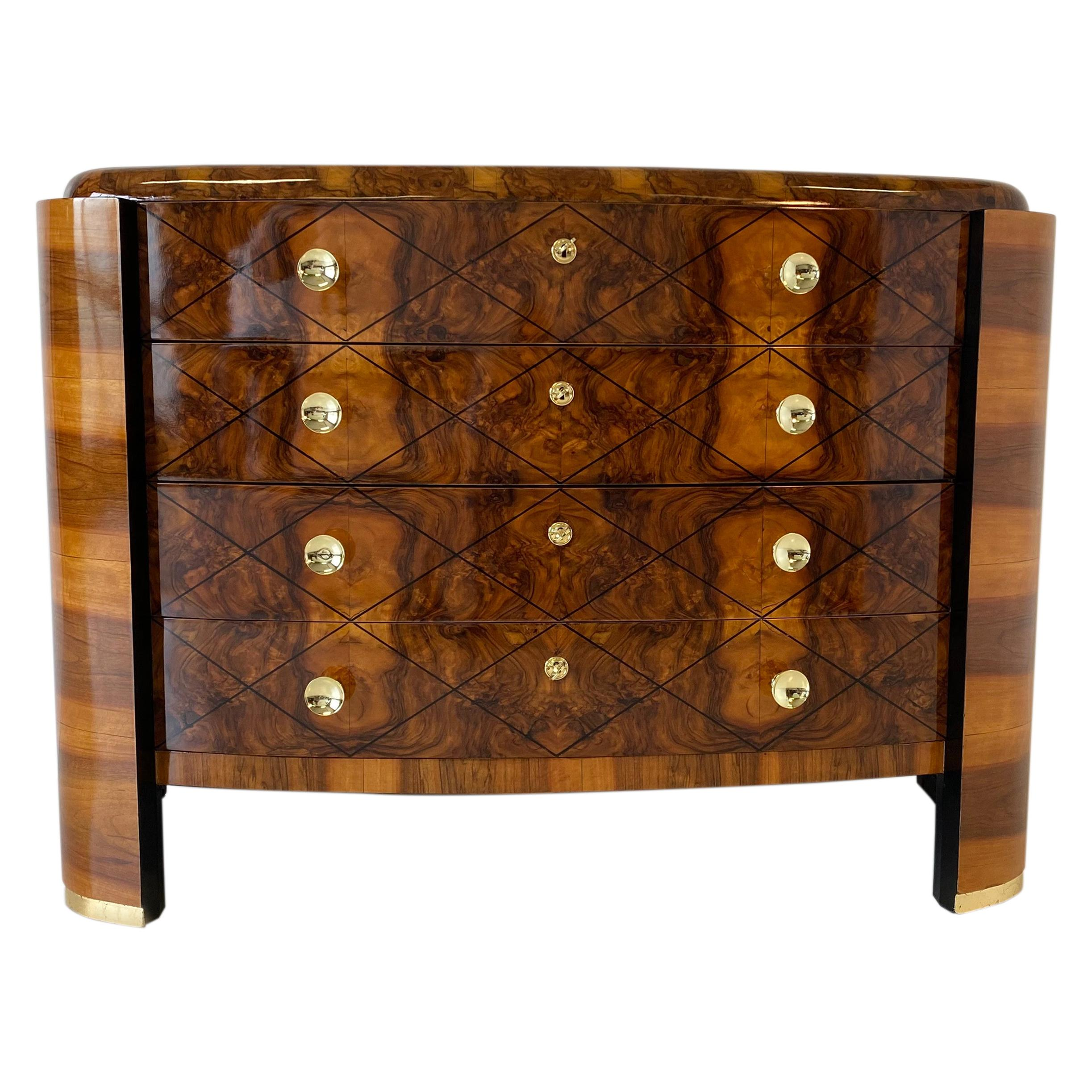 Italian Art Deco Walnut ,Gold Leaf and Brass Chest of Drawers, 1930s