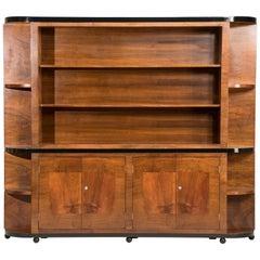 Italian Art Deco Walnut Wood Rounded Edges Bookcase
