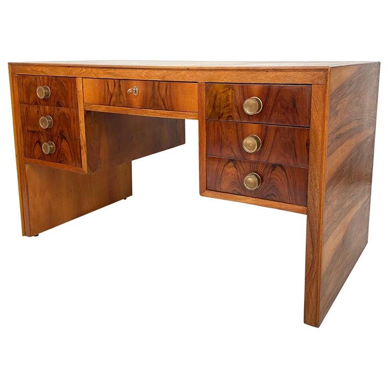 Italian Art Deco Writing Desk in Brown Walnut, Linoleum and Brass, circa 1930