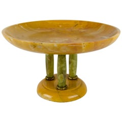 Italian Art Deco Yellow Alabaster and Green Onyx Tazza