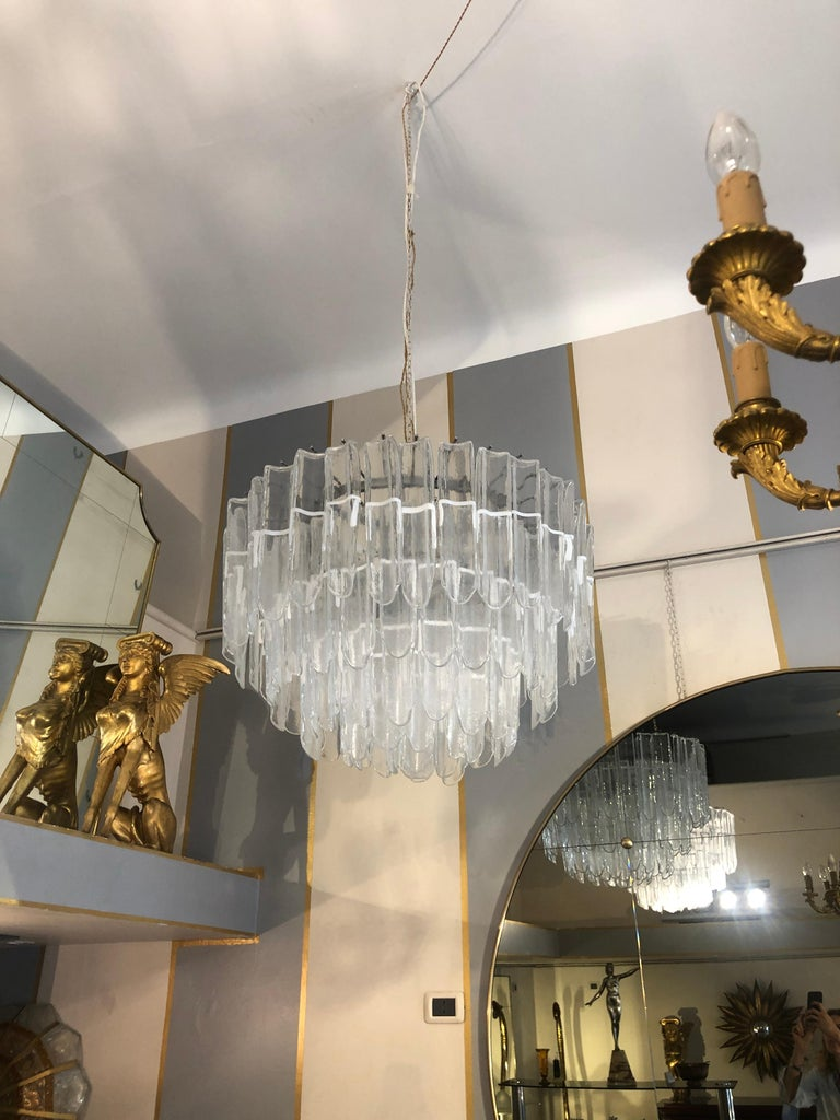 Italian Art Glass Chandeliers Pair of Attributed to Mazzega, circa 1970 For Sale 6