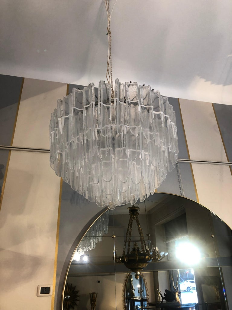 Italian Art Glass Chandeliers Pair of Attributed to Mazzega, circa 1970 For Sale 7