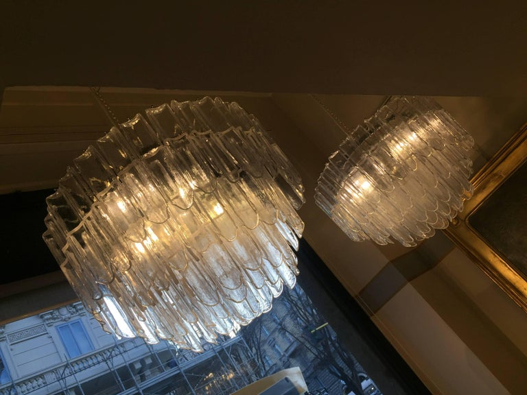 Modern Italian Art Glass Chandeliers Pair of Attributed to Mazzega, circa 1970 For Sale