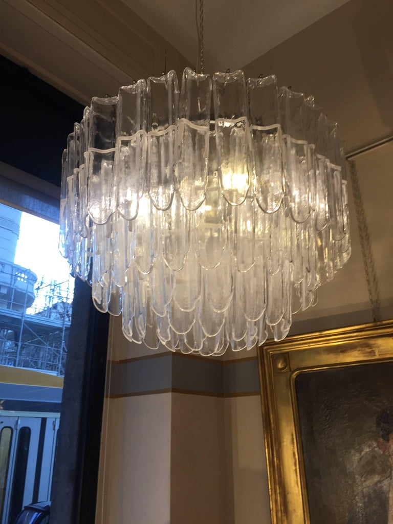 Italian Art Glass Chandeliers Pair of Attributed to Mazzega, circa 1970 In Good Condition For Sale In Milano, IT