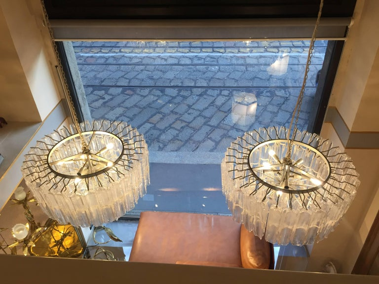 Late 20th Century Italian Art Glass Chandeliers Pair of Attributed to Mazzega, circa 1970 For Sale