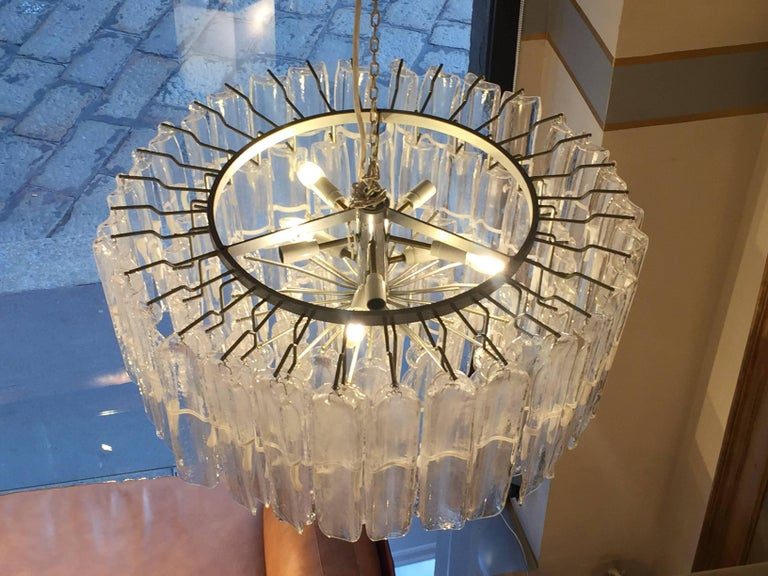 Steel Italian Art Glass Chandeliers Pair of Attributed to Mazzega, circa 1970 For Sale