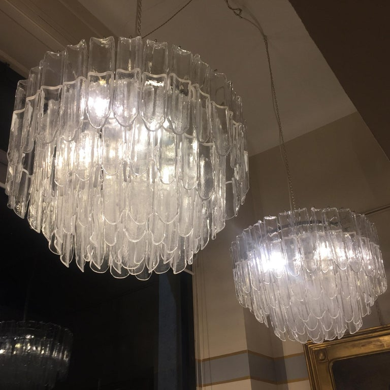 Italian Art Glass Chandeliers Pair of Attributed to Mazzega, circa 1970 For Sale 2