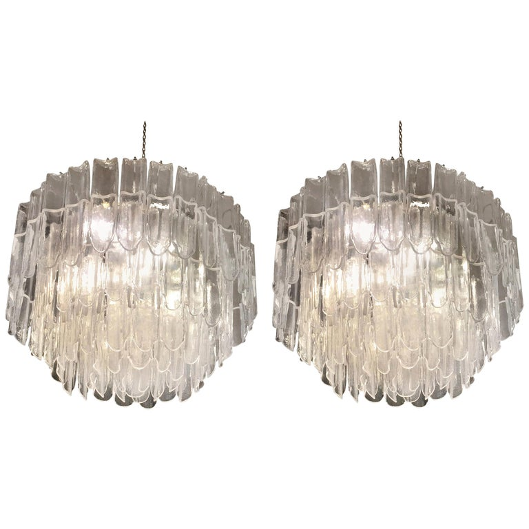 Italian Art Glass Chandeliers Pair of Attributed to Mazzega, circa 1970 For Sale