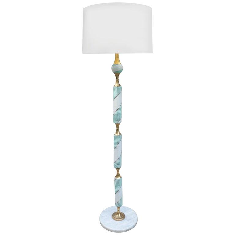 Italian Art Glass Floor Lamp For Sale