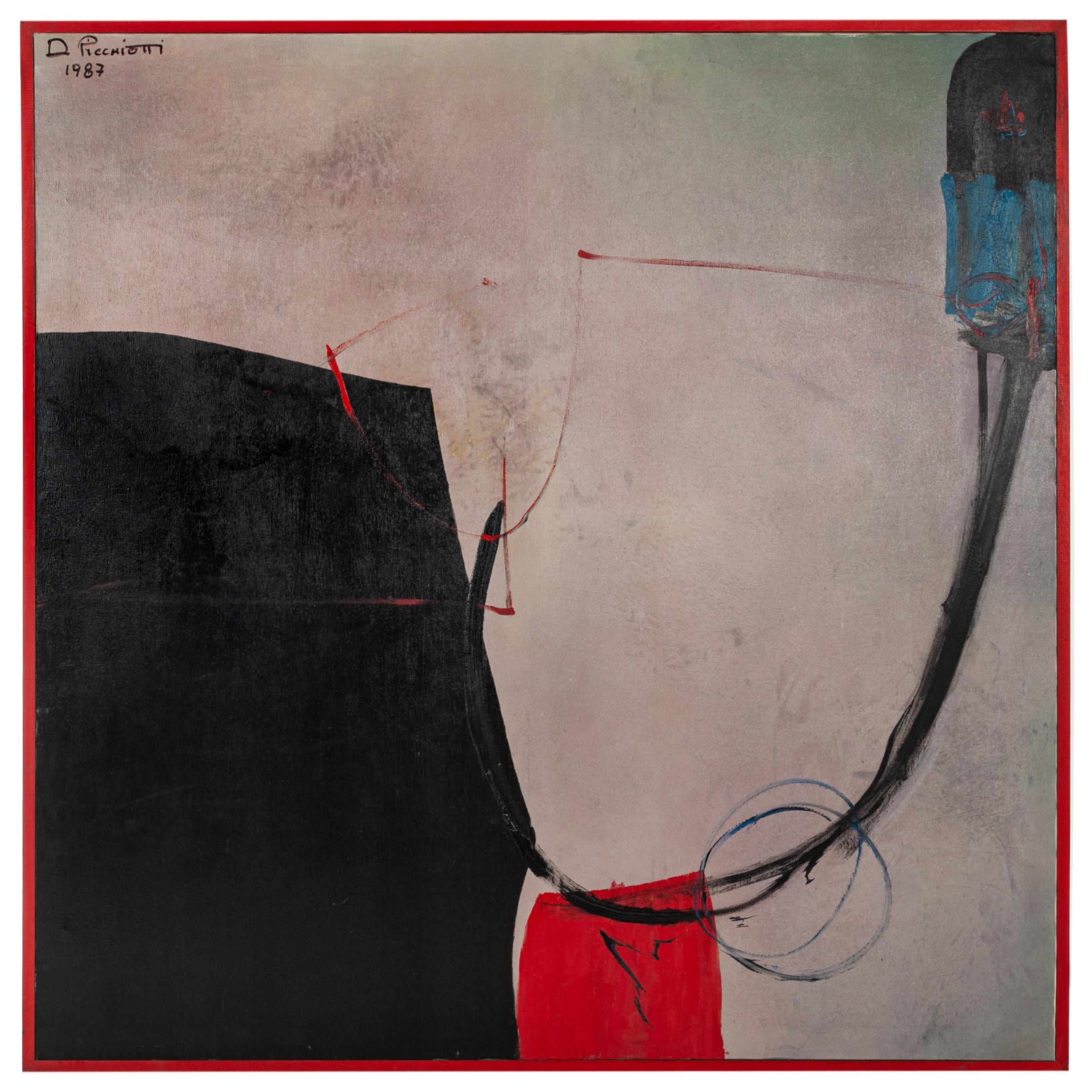 Italian Art Informel Painting Black, Grey, Red, Blue by Danilo Picchiotti, 1987