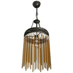 Italian Art Nouveau & Art Deco Murano Amber & Clear Glass Chandelier or Lantern