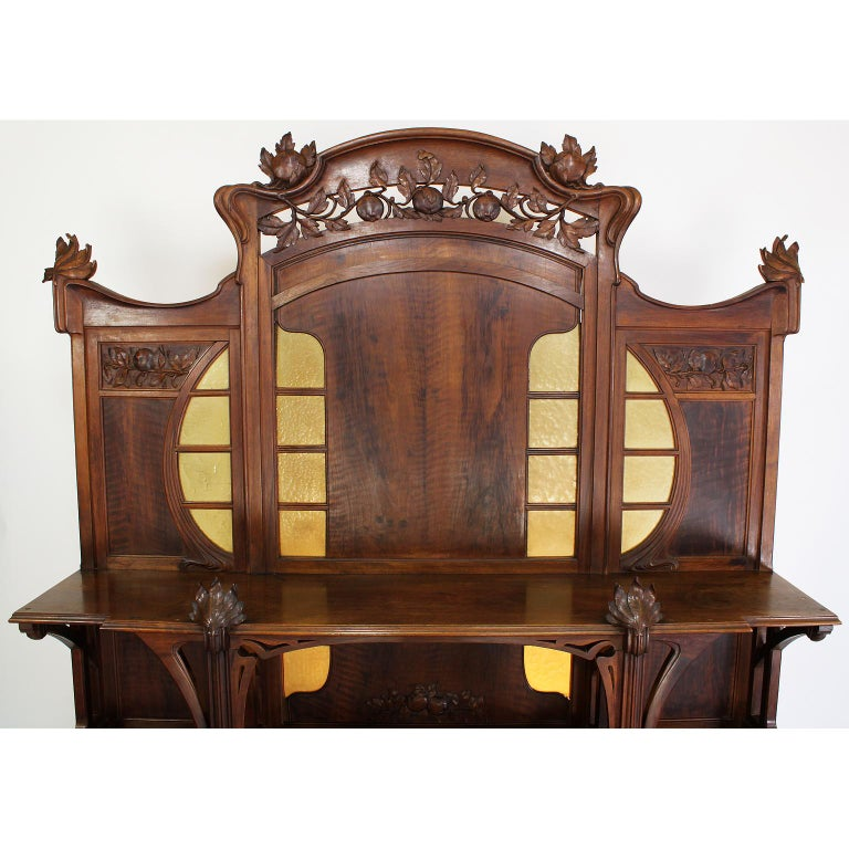 Hand-Carved Italian Art Nouveau Carved Walnut Credenza Buffet, Vittorio Valabrega For Sale