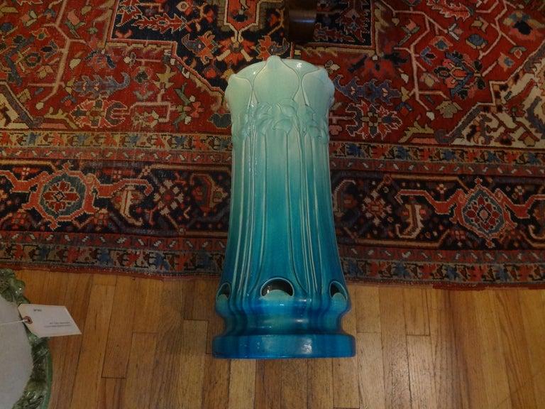 Italian Art Nouveau Majolica Umbrella Stand For Sale 4
