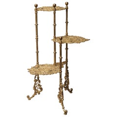 Italian Art Nouveau Ornate Cast Brass Three-Tier Plant Stand