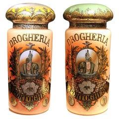 Italian Art Nouveau Painted Glass Lidded Jars, Exposed in Paris World Fair, 1878