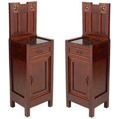Italian Art Nouveau Pair of Nightstands in Mahogany, Black Marble Top, Restored