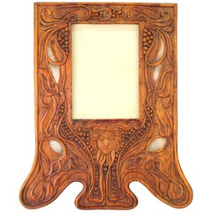 Italian Art Nouveau Picture Frame in Fruitwood and Silver Carlo Zen Attributed