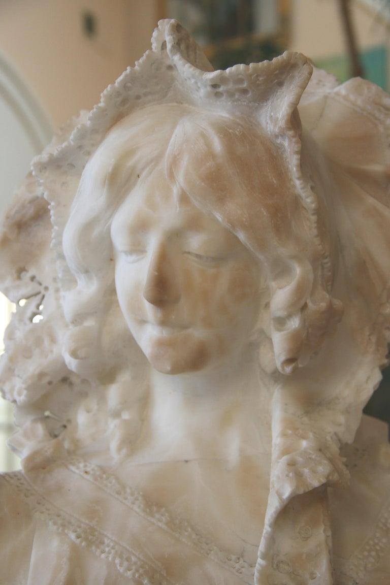 Late 19th Century Italian Art Nouveau Marble Sculpture For Sale