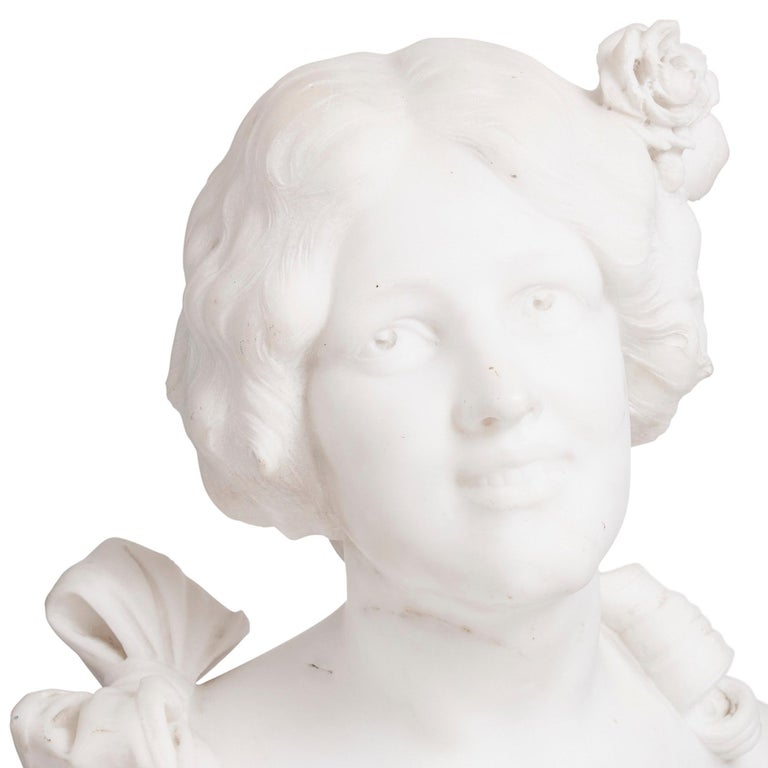 Italian Art Nouveau Style Sculpted Marble Bust by Pugi In Good Condition For Sale In London, GB