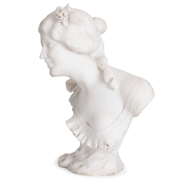 20th Century Italian Art Nouveau Style Sculpted Marble Bust by Pugi For Sale