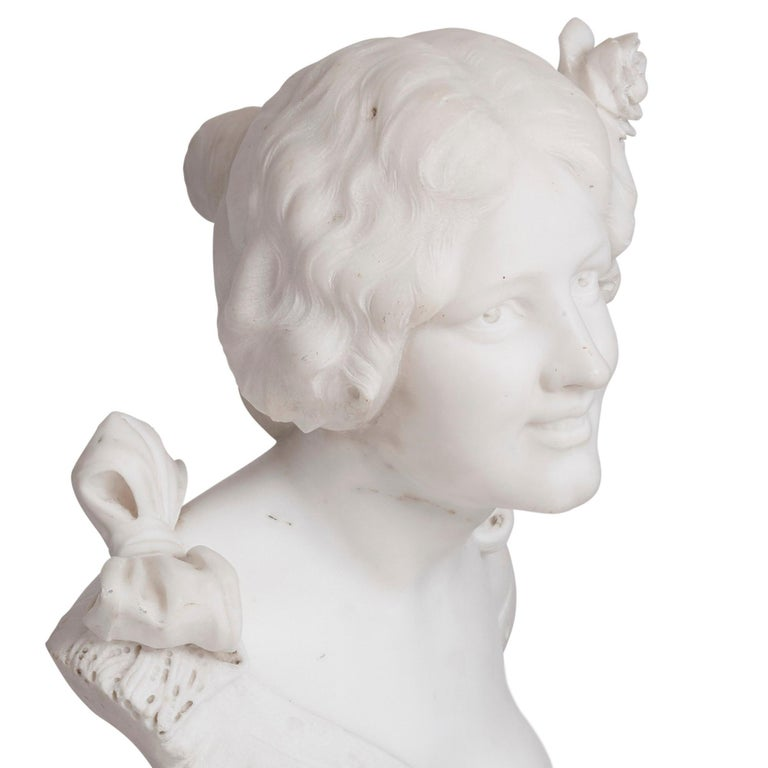 Italian Art Nouveau Style Sculpted Marble Bust by Pugi For Sale 1