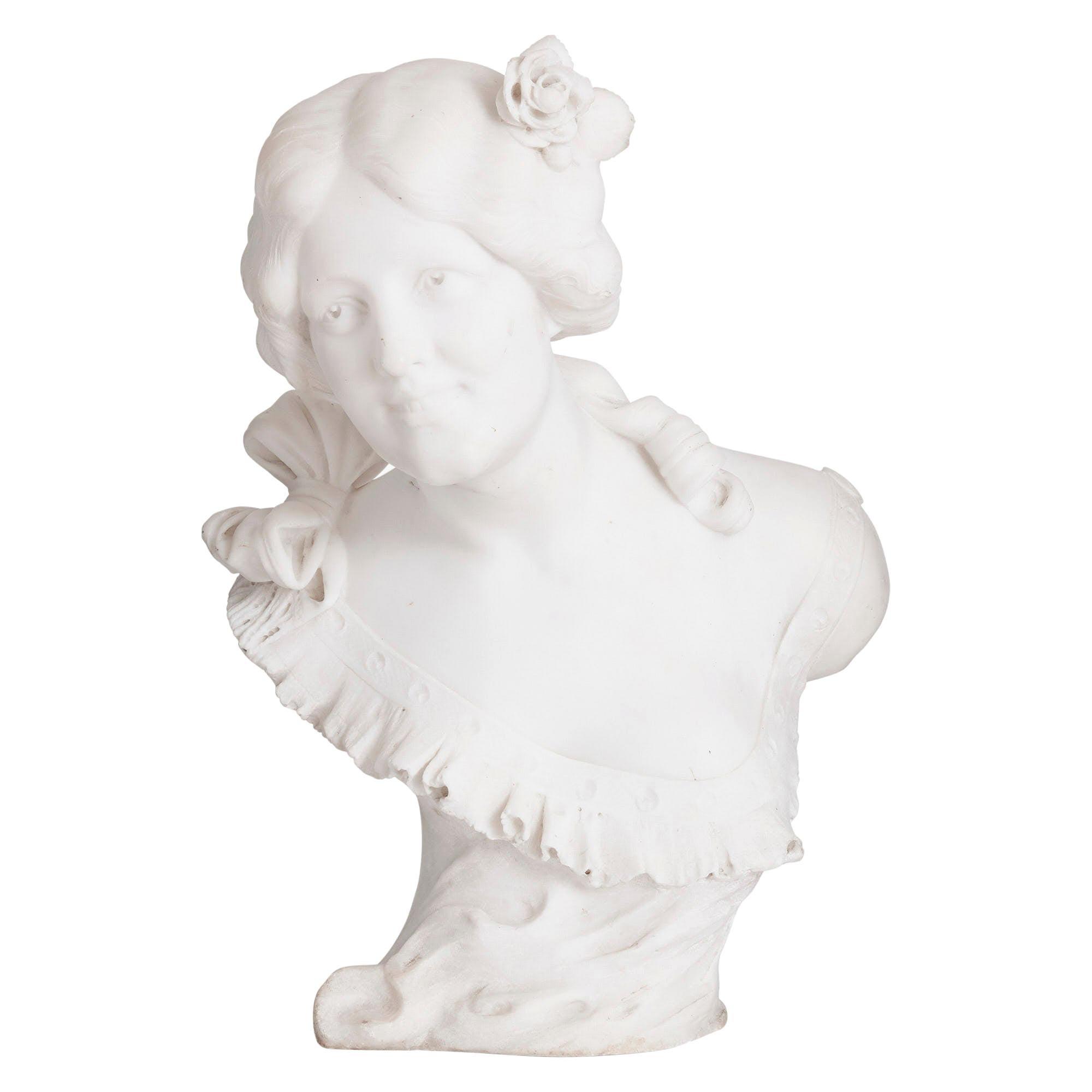 Italian Art Nouveau Style Sculpted Marble Bust by Pugi