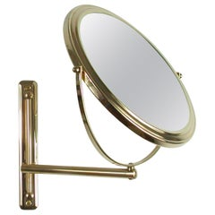 Italian Articulating and Adjustable Brass Vanity 2-Sided Wall Mirror, 1950s